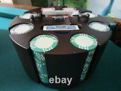 Vintage Poker Chip Set Caddy Cards, 1970s Poker Set 224 PCS 2 DECKS LEATHER BOX