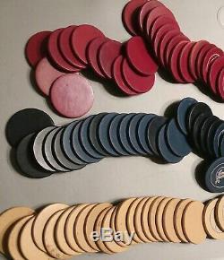 Vintage Poker Chip Set Carousel Bakelite Clay 297 pcs 808 Bicycle Fan Back