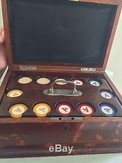 Vintage Poker Chip Set In Beautiful Hinged Oak Box with Inlaid Cover