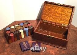Vintage Poker Chip Set Oak Box Orig Cards 1930s