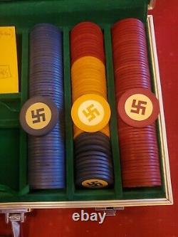 Vintage Poker Chip Set (x288 chips) Native American Good Luck Swastika