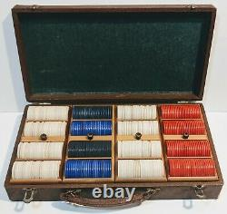 Vintage Poker Chips & Playing Cards Set with Wood Case Genuine Lowe NY Game