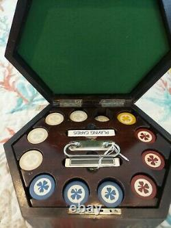 Vintage Poker Chips Set Inlaid Clover Leaf With Box