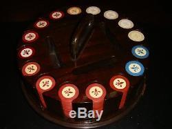 Vintage Poker Set 320 Fleur de Lis Chips Solid Wood Carousel & Cover