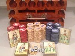 Vintage Poker Set In very nice wood box with flag chips