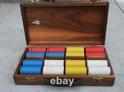 Vintage Poker Set With Monogrammed Clay Chips