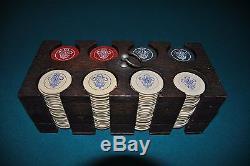 Vintage Rare Engraved Prince Of Wales Poker Chip Set With Wood Rack / Holder