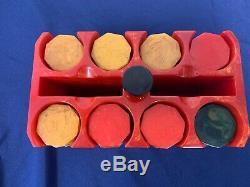 Vintage Red Marbled Poker Chip Set with Hexagonal Marbled Bakelite Chips