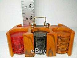 Vintage Set Of 110 Three Color Bakelite Poker Chips Set With Carrier And Box