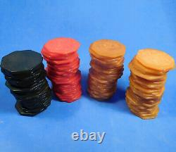 Vintage Set of 100 Swirled BAKELITE OCTAGONAL Poker Chips Eight Sided