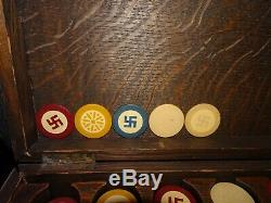 Vintage Set of Inlaid Clay Poker Chips, Good Luck Poker Chips, Mahogany Rack