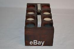 Vintage Set of Poker Chips Caddy Carrier Heavy 8 Rows Green Red White 2 Decks