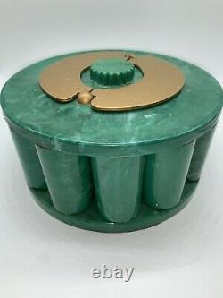 Vintage Turnit Poker Chip Rack, Caddy & Card Holder, Green Marbled Bakelite