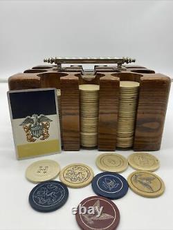 Vintage US Navy Poker Bakelite Chip Set In Wooden Case Silver Handle Leather