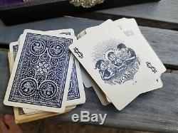 Vintage US Playing Card Poker Chip Set & no. 500 Deck fitted case clay 60 card