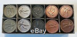 Vintage Vandercraft Metal Poker Chip Set Gold Silver & Copper Chips in Box