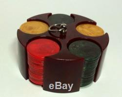 Vintage art deco swirled CATALIN BAKELITE 100 POKER CHIP CADDY SET