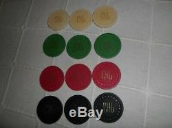 Vintage poker Chip Set Jones Bros 1930's (LGSQUR) Mold Very Rare With Extras