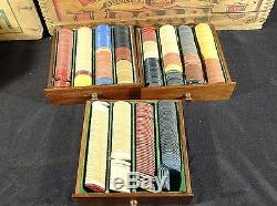 Vintage poker chip set in 3 drawer wood case mixed early chips indian elk 600 pc