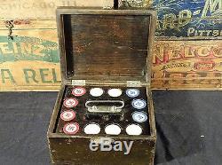 Vintage poker chip set in wood case good luck swastika or falling logs 300 pc