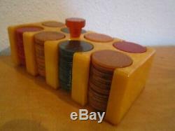 Vtg. Art Deco Mini Bakelite/Catalin Poker Chip Set, 154 1 1/8 chips, 1940's