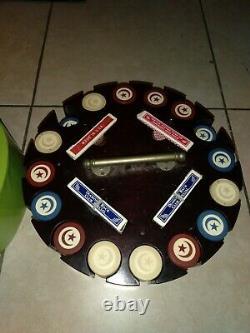 Vtg Bakelite Poker Chip Set 4 set playing cards carousel