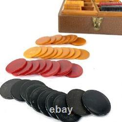 Vtg Genuine Lowe Bakelite Poker Gin Rummy Bridge Chip Gaming Set Butterscotch