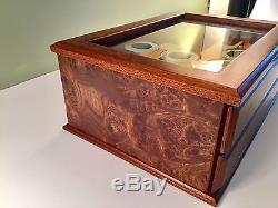 Vtg. Made in Italy Poker Chip Set Burl Box Glass Top 2 Drawer Beautiful