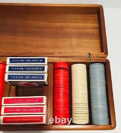 Vtg Rare Poker Set Wooden Box With Clay Poker Chips & 6 Decks Of Cards
