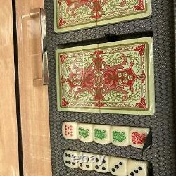 WOLF Meridian Collection Blonde Lacquer Casino Gaming Box Set Cribbage Poker