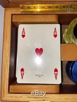 Walnut Italian Poker Set Dal Negro Treviso Agresti Leggero Italy Mother of Pearl