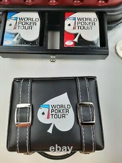 World Poker Tour Chip Set Includes 300 Pc Chips Swivel Case 2 Decks Tumblers